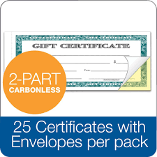 gift certificate 2 part carbonless 25 numbered certificates per book
