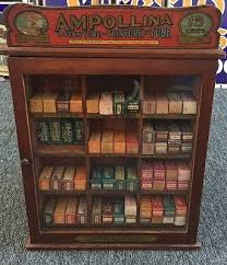 antique ampollina dye in tube baribeau son counter store cabinet display antique furniture apothecary general store candy