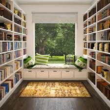 f astounding bright small home library ideas with white wooden bookcases between square clear glass bay windows and cool color cushions and decorative bookcase book shelf library bookshelf read office