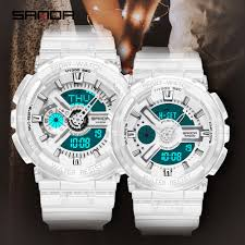 【2pcs/sets】<b>SANDA</b> Sports Couple <b>Watch</b> Chronograph LED Digital ...