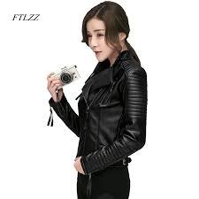 FTLZZ New <b>Spring Autumn Women</b> Faux Soft Leather <b>Jackets</b> Pu ...