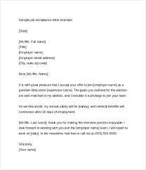sample job offer acceptance letter     download free documents in    sample job acceptance letter example