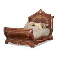 bedroom set main: aico michael amini pc cortina king size sleigh bedroom set in honey walnut finish in