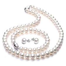 <b>Freshwater</b> Cultured Pearl <b>Necklace Jewellery</b> Sets Wedding ...