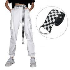 135cm Women's <b>Checkerboard Belt Canvas Belt</b> Cummerbunds ...