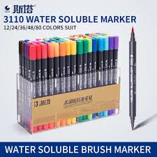 <b>STA</b> 12-<b>80Colors Double Head</b> Artist Soluble Colored Sketch ...