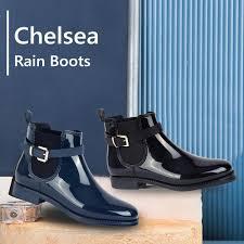 <b>MaxMuxun Women's</b> Rubber Ankle Rain <b>Boots</b> Black Fringe Causal ...