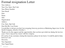 sincerely your signature your typed name 14 formal resignation letter resignations letters samples