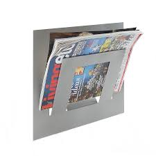 magazine rack wall mount: wall mounted single tier magazine rack middot metallic silver