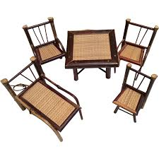 bamboo wood dollhouse or doll size vintage furniture table chairs lounger 5 piece bamboo wood furniture