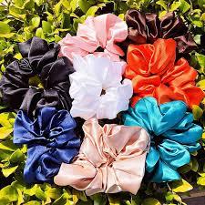 <b>Women Elegant</b> Colorful <b>Satin</b> Scrunchie Ponytail – Womenstreat