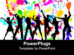 best party powerpoint templates crystalgraphics powerpoint template displaying silhouettes of dancing party goers white background splattered bright colors