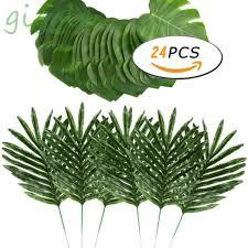 <b>24pcs</b> 2 Kinds <b>Artificial</b> Palm Tree <b>Leaves</b> Faux <b>Fake</b> Tropical ...