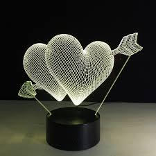 <b>Valentine's day</b> gift 7 <b>Color</b> Change <b>3D</b> Hologram Lamp USB Acrylic ...