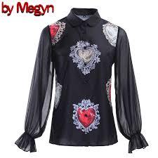 <b>by Megyn</b> heart Print <b>Blouse</b> Summer 2019 <b>Women</b> Long sleeve ...