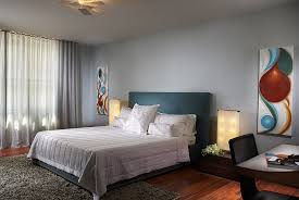 alluring interior bedroom design ideas with nice grey wall color decor and black leather headboard also alluring home bedroom design ideas black