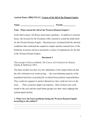 ancient rome dbq essay causes of the fall roman empire   essay ancient rome dbq essay causes of the fall roman empire