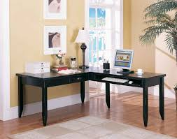 corner office furniture l shaped black high gloss finished office desk with drawer and keyboard rack amusing double office desk