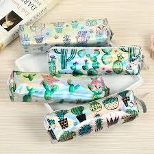 Cactus PU Waterproof Pencil Case <b>Holographic Laser Pen Bag</b> For ...