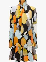 <b>abstract</b> spot <b>printed</b> mini pleated dress | JW Anderson