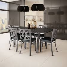 black and white dining table set: amisco washington metal chair and drift table dining set