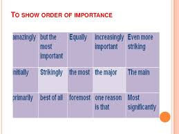 descriptive essay writing to show order of importance