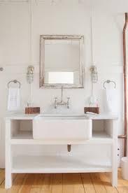 open bathroom vanity cabinet: astounding cottage style bathroom lighting with array rustic open bathroom vanity and white porcelain rectangular vessel