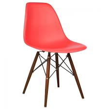 dining chair beech red eames style dsw molded red plastic dining shell chair with dark walnut