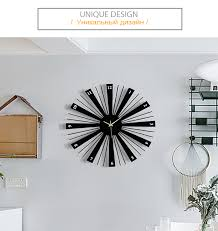<b>Metal Creative Wall</b> Clocks <b>Large</b> Decorative Silent Black Wooden ...