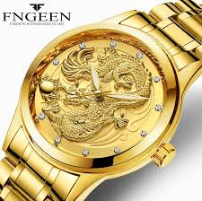 <b>FNGEEN</b> 3D engraving Golden Dragon Quartz Watch Mens <b>Top</b> ...