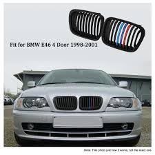 <b>One Pair Matt</b> Black Front Kidney Grille M Style Grill with Red Blue ...