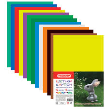 <b>Картон цветной А4</b> немелованный, 12 листов 12 цветов, в ...