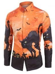 <b>Halloween</b> Cat Bat Pumpkin Print Long-sleeved Shirt in 2020 | Long ...