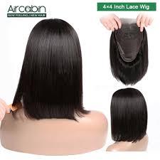 <b>Aircabin</b> 4x4 <b>Lace</b> Closure Bob Wig Brazilian Straight Human Hair ...