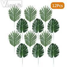 <b>12 Pieces Plant</b> Palm Monstera <b>Leaves</b> Simulation Tropical Party ...
