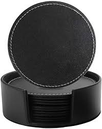 Leather <b>Coasters</b> Set of 6 with Holder- Protect Furniture from Water ...