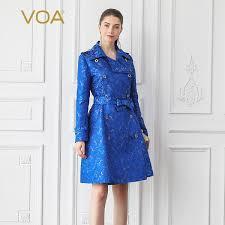 2019 <b>VOA Silk Jacquard</b> Trench Women Blue Coat Large Size F306 ...