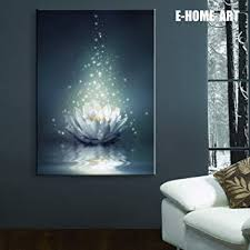Stretched LED Canvas Print Art White Lotus on The ... - Amazon.com