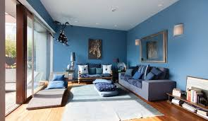 creating a warm and calm situation at home with blue accent wall blue living room ideas