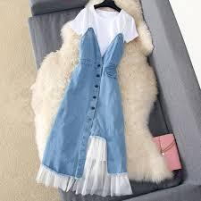 <b>Fashion</b> 2019 <b>Summer Dress</b> Suit Denim Mesh <b>Patchwork</b> Slim ...