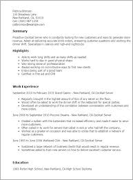 resume templates cocktail server work experience cocktail waitress responsibilities for resume restaurant server resume sample waiter resume examples