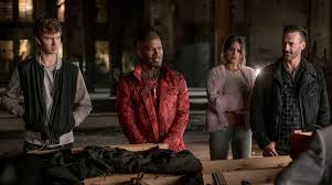 Baby Driver LA Times From left Ansel Elgort Jamie Foxx Eiza Gonzalez and Jon Hamm in