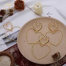 <b>2020 New Fashion</b> Enamel Dots Filled Double Heart Love Earrings ...