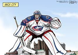 LOCAL OH Blue Jackets Goalie by Political Cartoonist Nate Beeler via Relatably.com