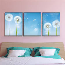 <b>Laeacco 3 Panel</b> Canvas Painting Calligraphy Garden Dandelion ...