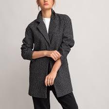 <b>Пальто средней</b> длины с принтом в ломаную клетку черный ...