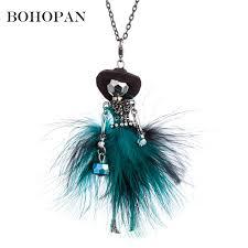 <b>Elegant</b> Long Chain Pendant Necklaces Black Hat Fur Dress ...
