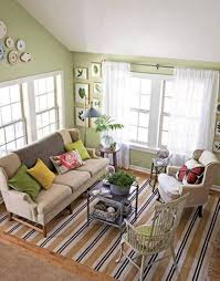 living room green curtains