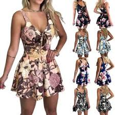 Summer Women Sexy Bow Tie Floral Printed Romper Dress ... - Vova