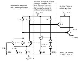 emitter coupled logic motorola ecl 10 000 basic gate circuit diagram